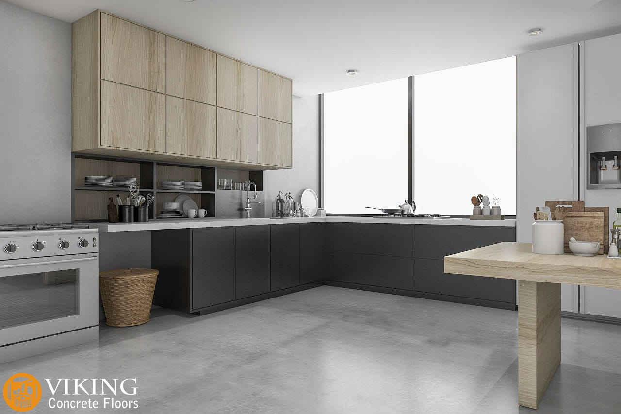 A kitchen with concrete floors